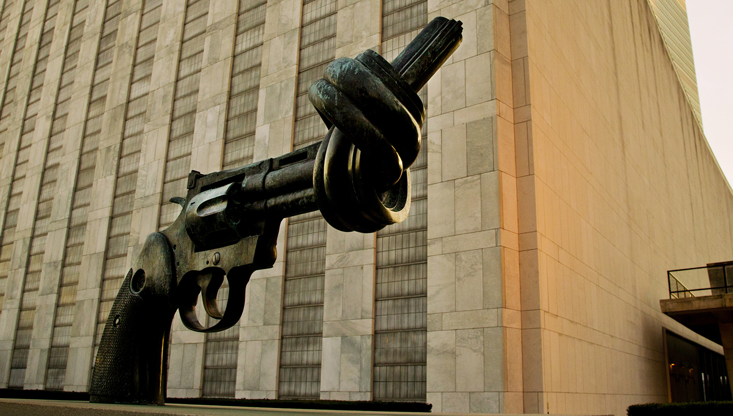 Non-violence sculpture in front of the UN