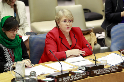 Head of UN Women Michelle Bachelet and Ms. Orzala Ashraf on behalf of the NGO Working Group on Women, Peace, and Security