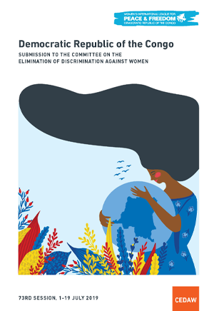 cover of the wilpf drc cedaw submission, with a graphic of a woman