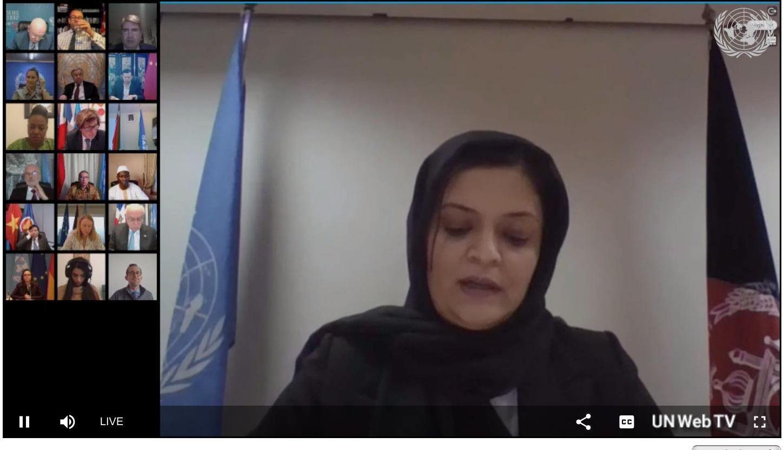 Zarqa Yaftali briefing the UN Security Council.